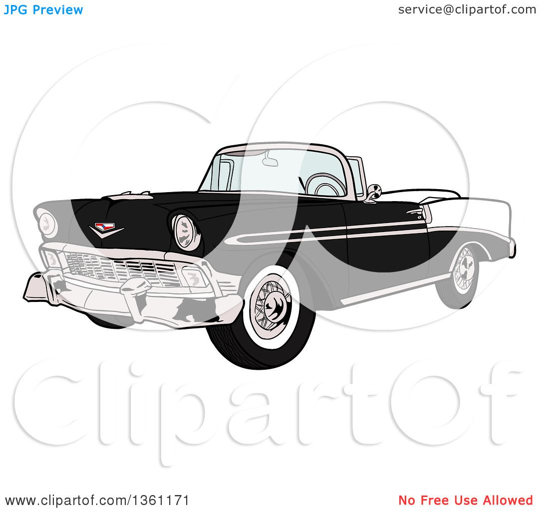 Clipart Of A Cartoon Black And White 1956 Chevrolet Bel Air Classic Convertible  Car   Royalty Free Vector Illustration By LaffToon