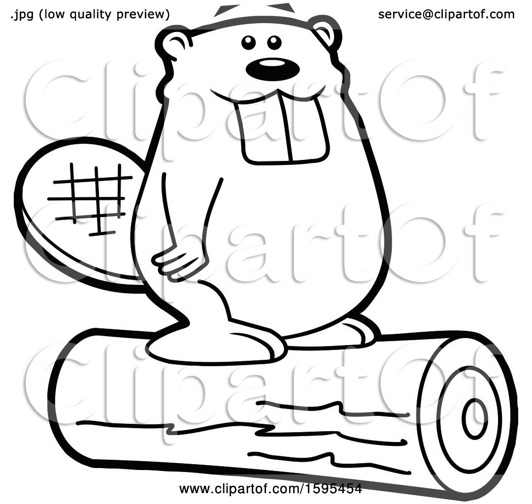 Clipart of a Cartoon Black and White Beaver School Sports ...