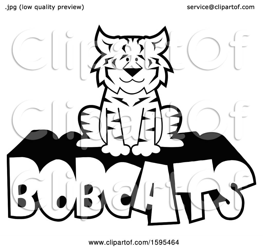 Clipart of a Cartoon Black and White Bobcat School Sports ...