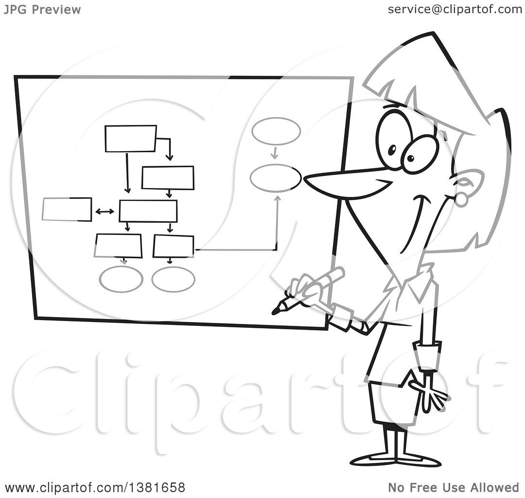 Clipart Of A Cartoon Black And White Business Woman -9019