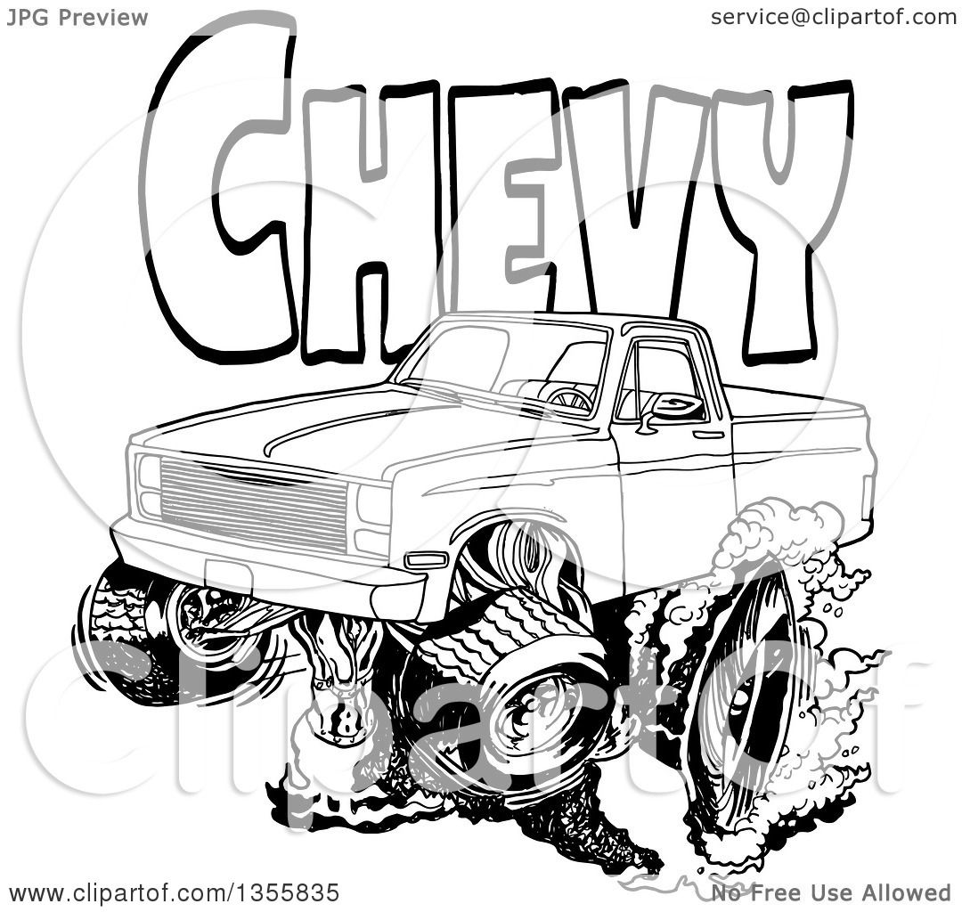Clipart of a Cartoon Black and White Chevrolet Pickup Truck ...