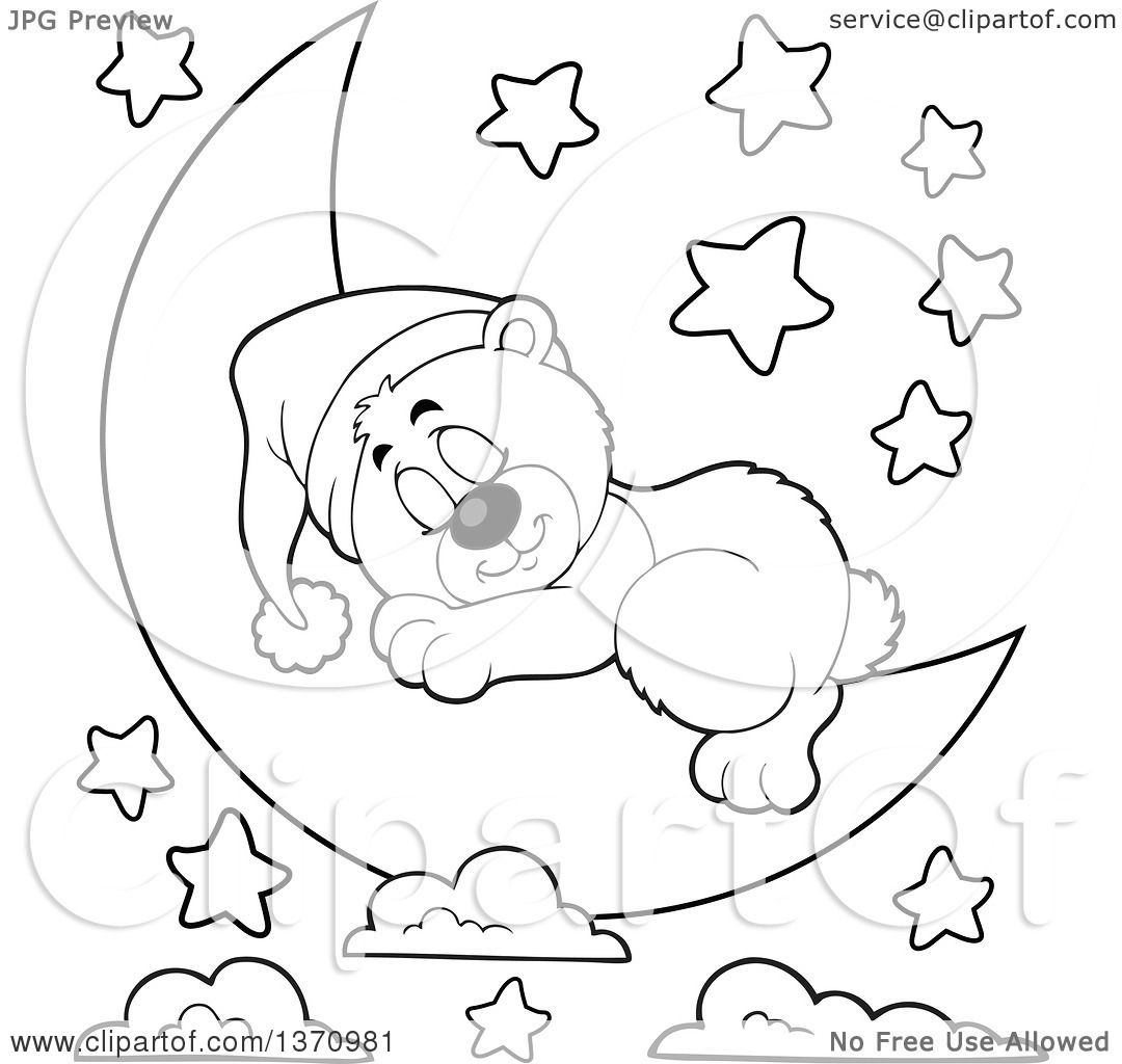 Black And White Baby Sleeping: Clipart Of A Cartoon Black And White Cute Bear Sleeping On