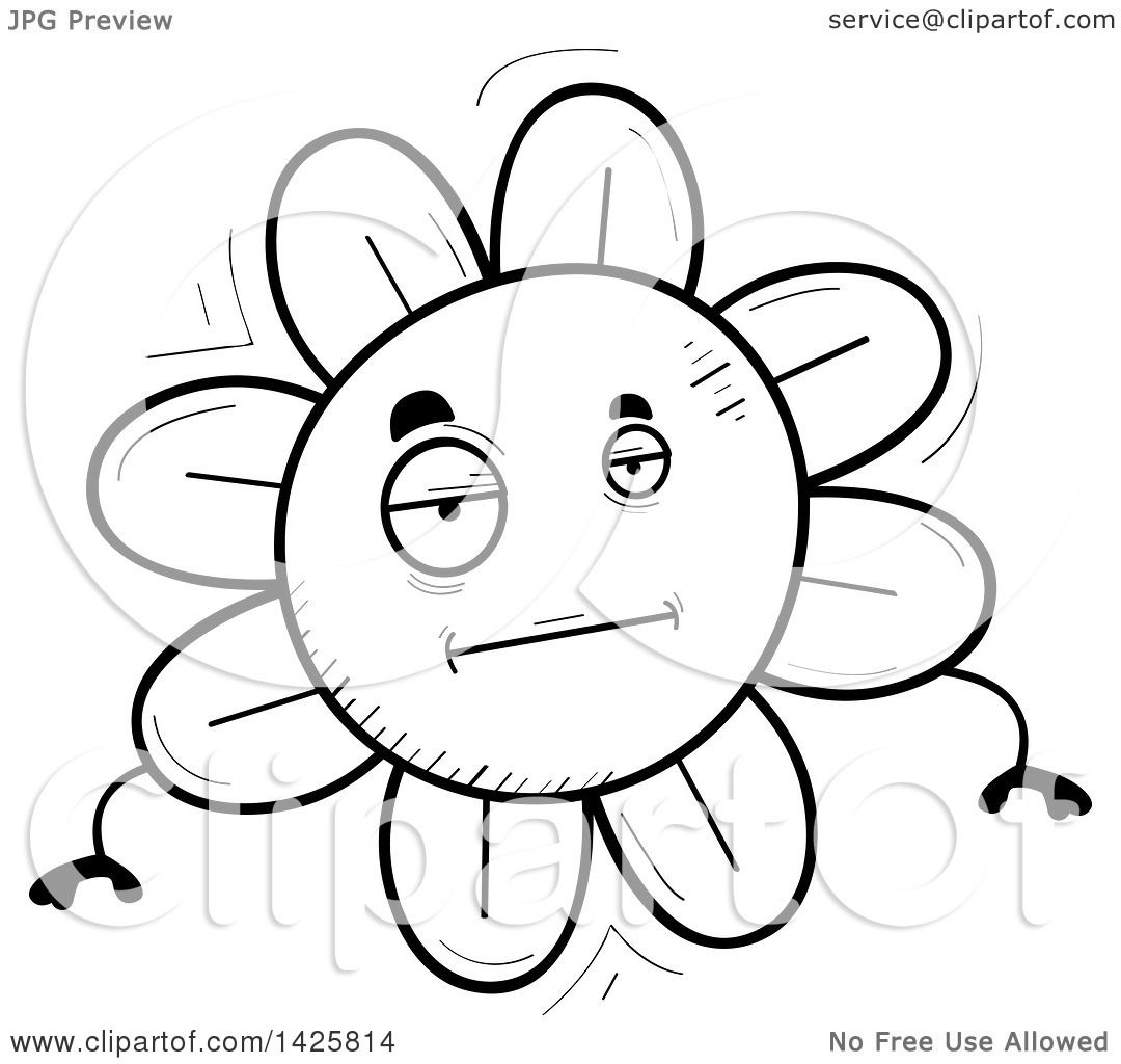 Clipart Of A Cartoon Black And White Doodled Bored Flower Character