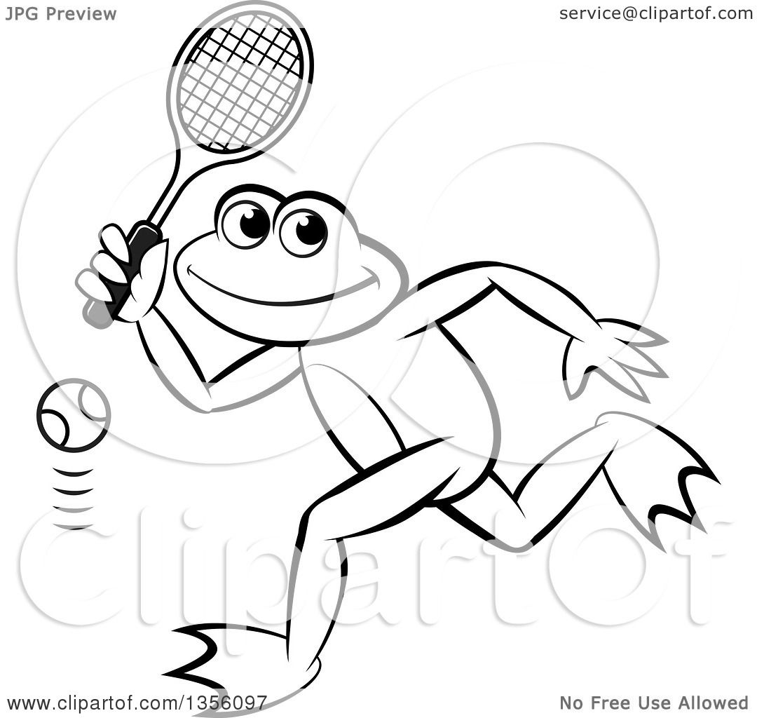 clipart of a cartoon black and white frog playing tennis