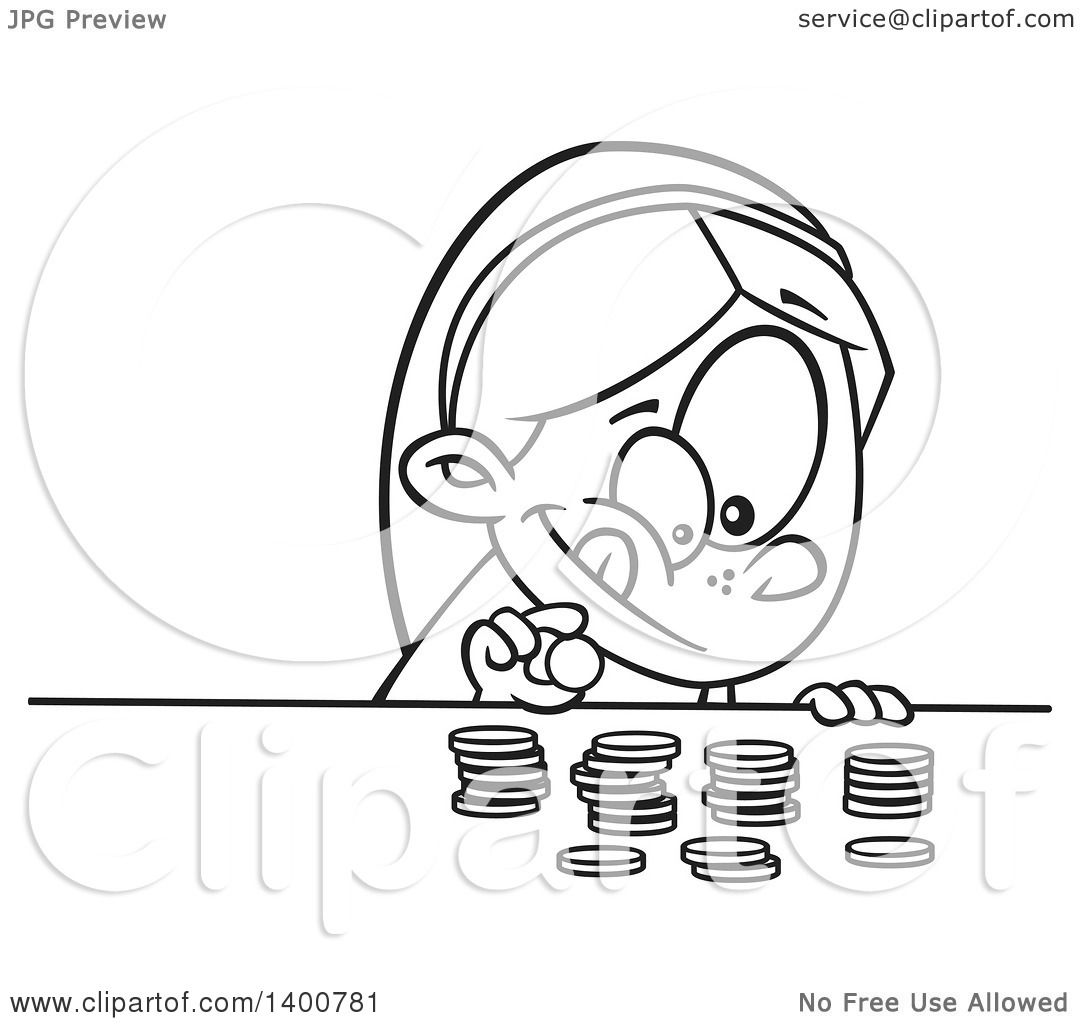 Clipart of a Cartoon Black and White Girl Counting Her Money ...