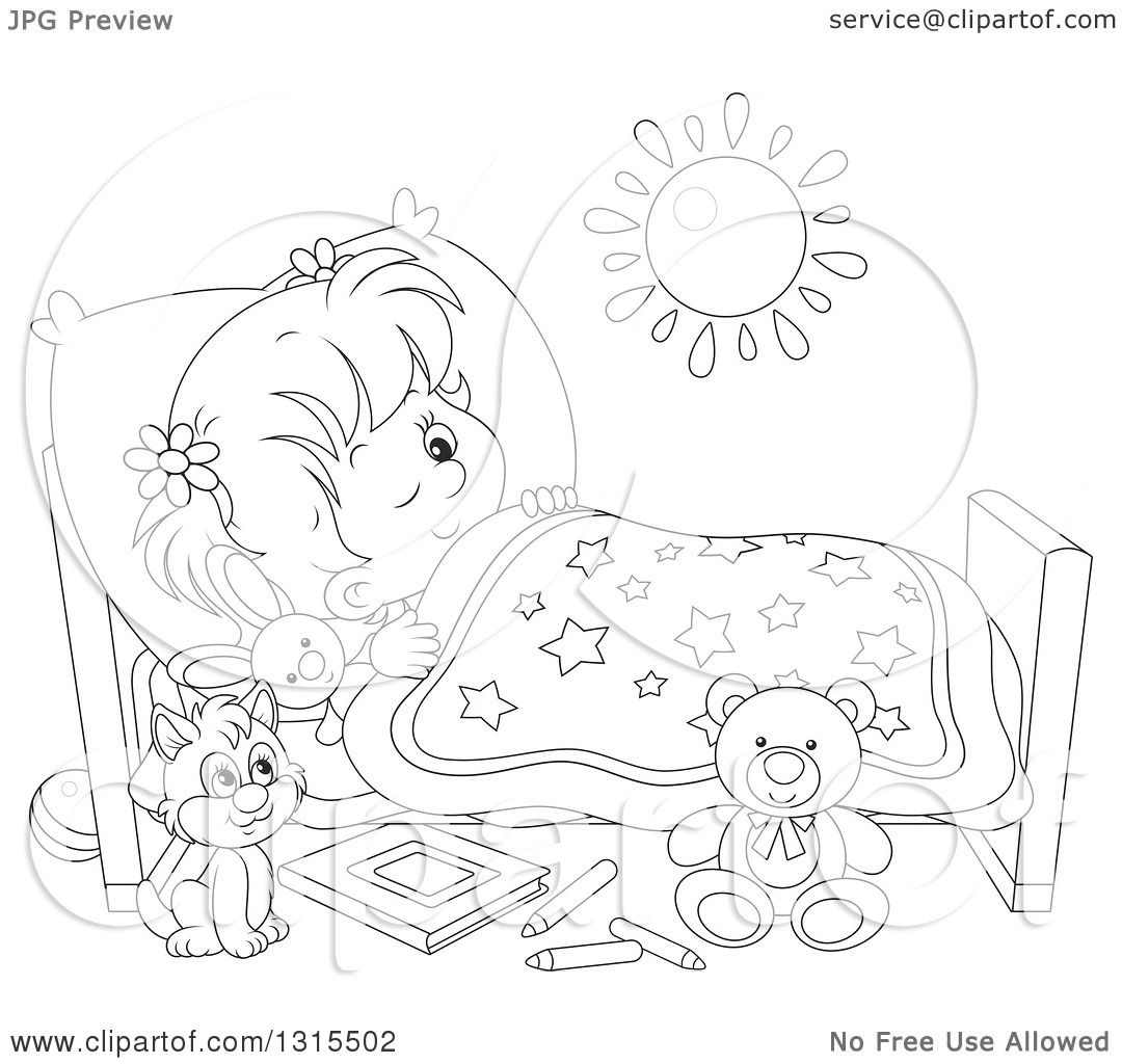 Clipart Of A Cartoon Black And White Girl In Bed, Peeping -8043