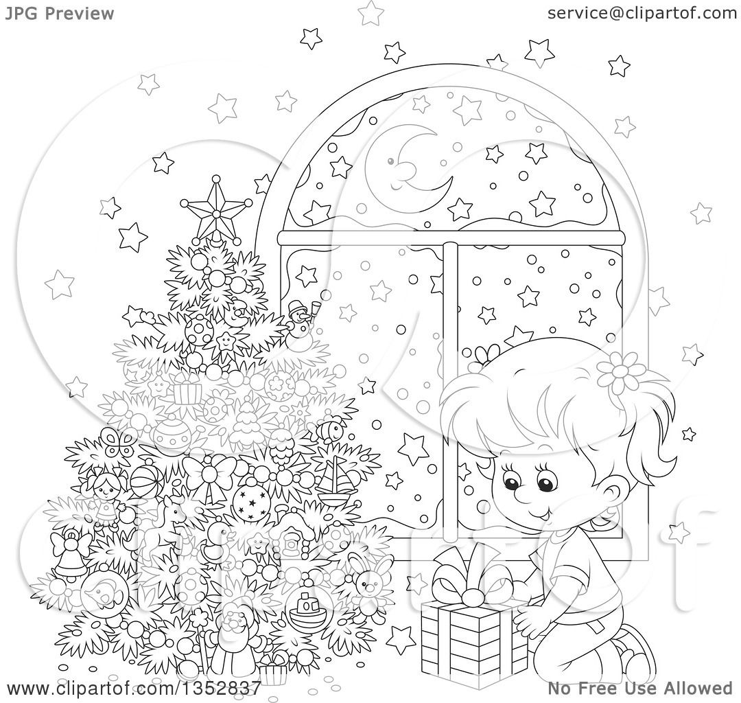 clipart of a cartoon black and white putting a christmas gift
