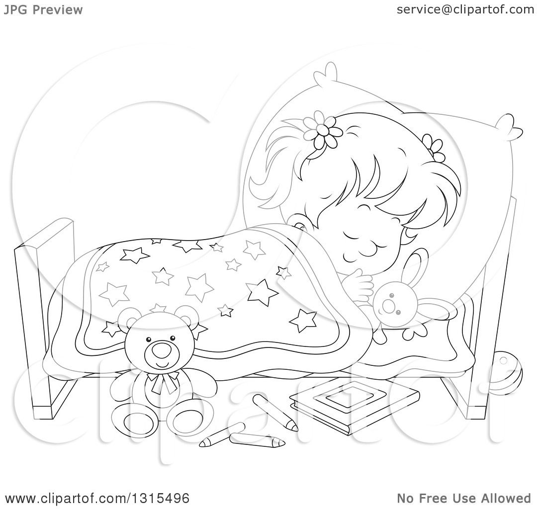 Clipart Of A Cartoon Black And White Girl Sleeping -2080