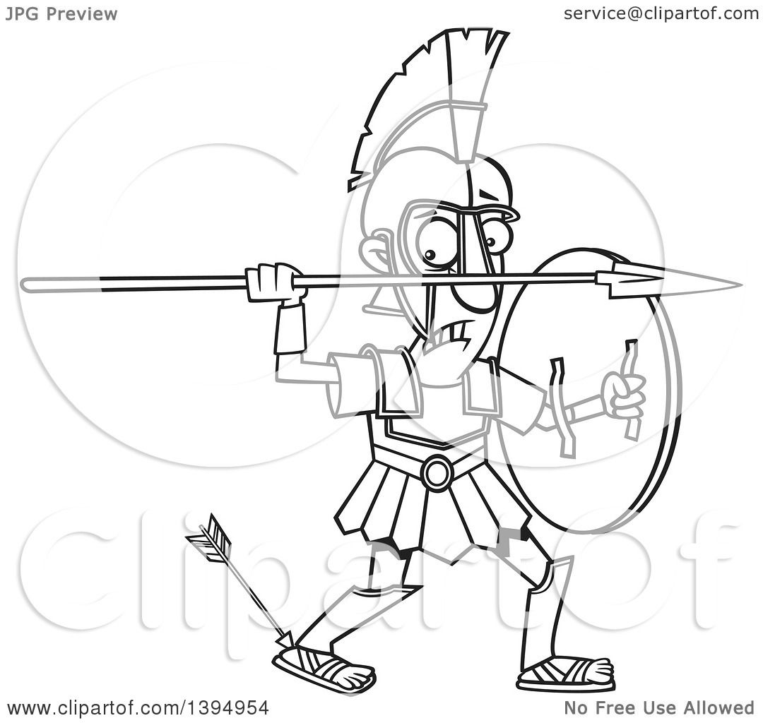 achilles coloring pages | Clipart of a Cartoon Black and White Greek God, Achilles ...