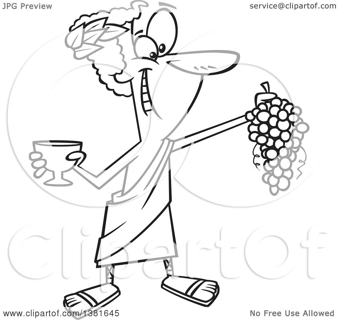 Clipart Cartoon Black White Greek God Dionysus