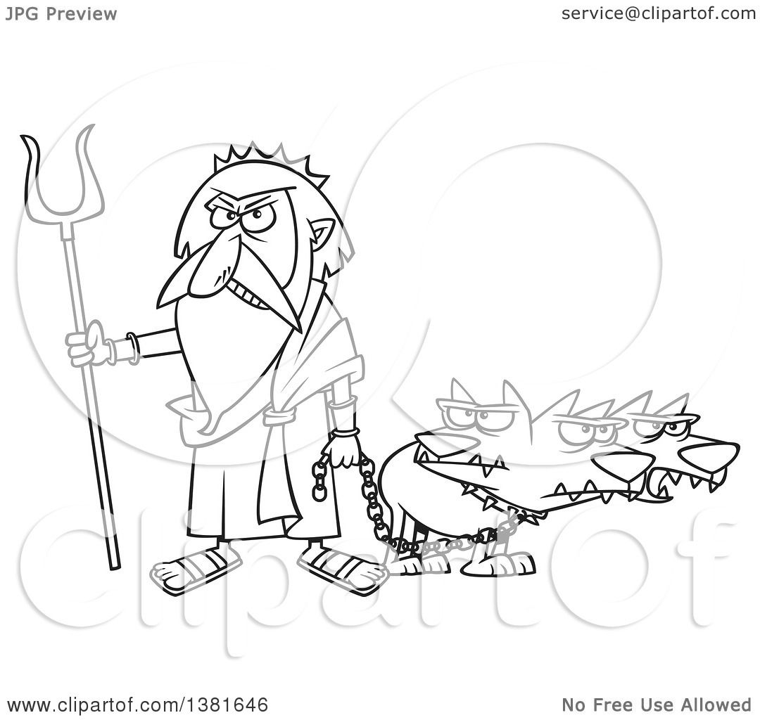 Clipart of a cartoon black and white greek god hades with his three headed