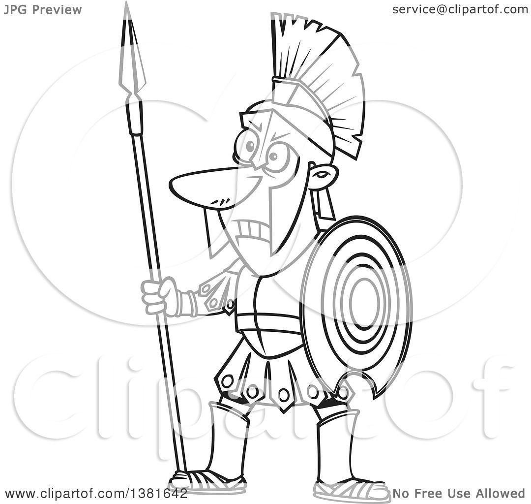 Clipart Of A Cartoon Black And White Greek God Of War Ares