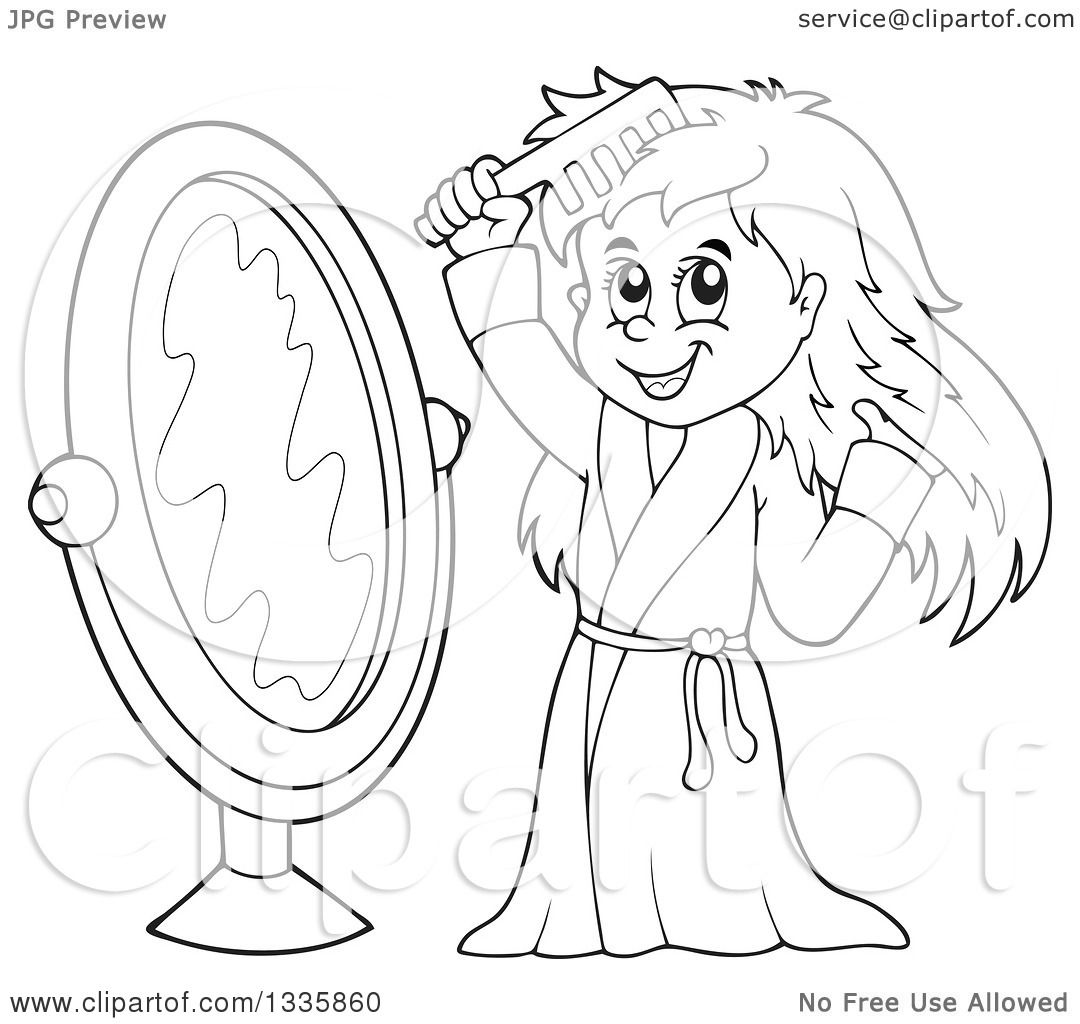 Clipart Of A Cartoon Black And White Happy Girl In A Robe Combing Her Hair In Front Of A Mirror Royalty Free Vector Illustration By Visekart 1335860