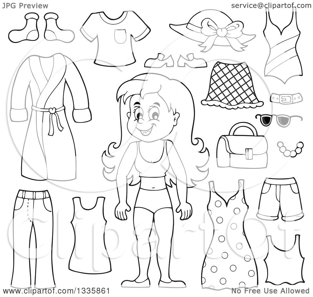 Clipart of a Cartoon Black and White Happy Girl in Her Underwear ...