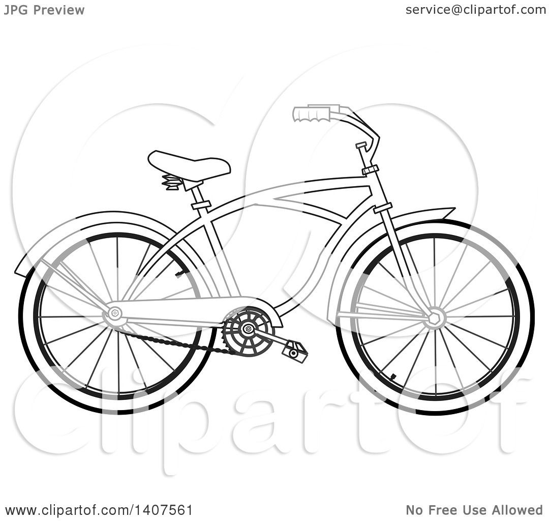 Clipart Of A Cartoon Black And White Lineart Bicycle