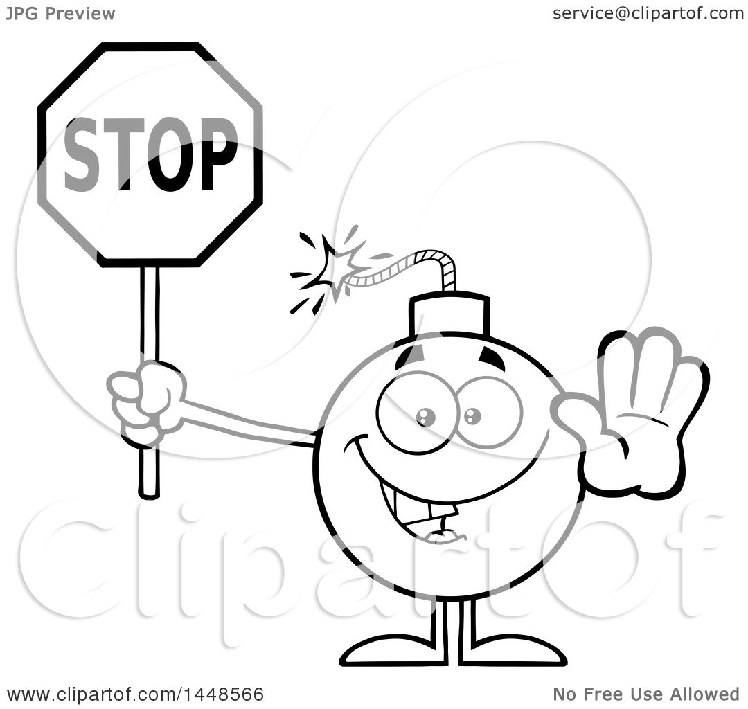 Clipart of a Cartoon Black and White Lineart Bomb Mascot Character ... for Stop Sign Clipart Black And White  588gtk