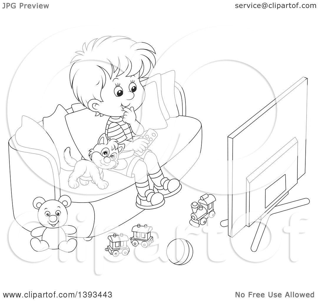 Clipart Of A Cartoon Black And White Lineart Boy And Cat