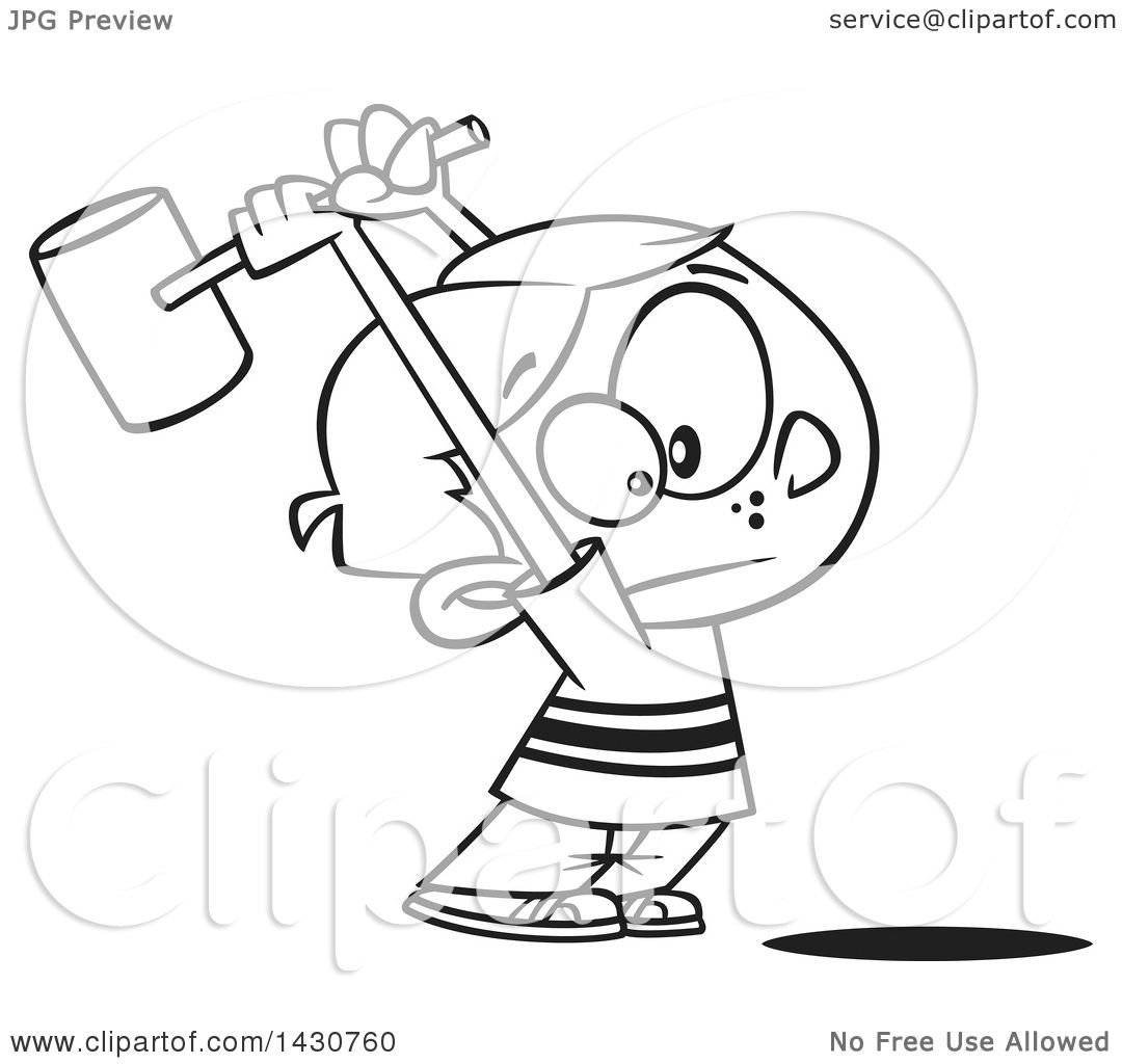 Vector Illustration Hammer: Clipart Of A Cartoon Black And White Lineart Boy Swinging