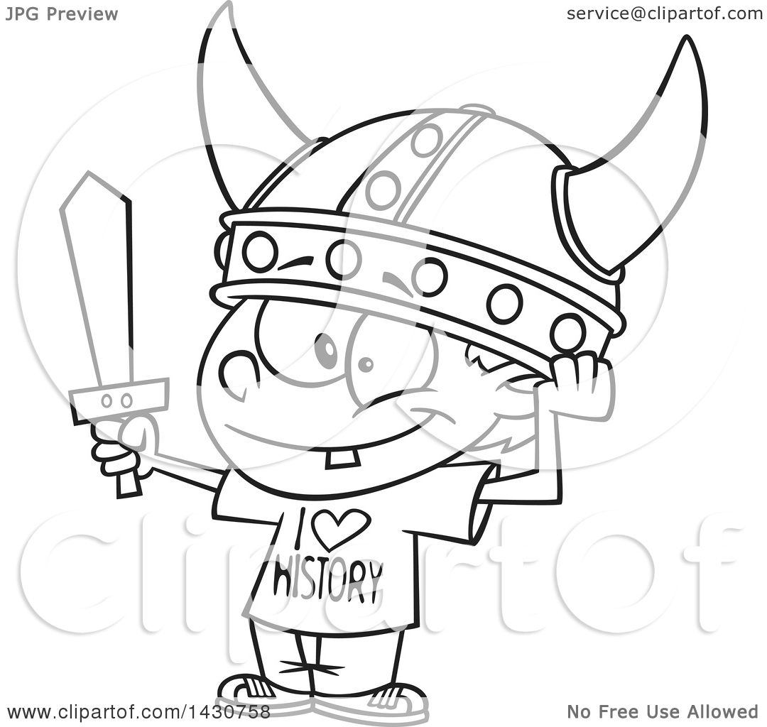 clipart of a cartoon black and white lineart boy wearing a viking