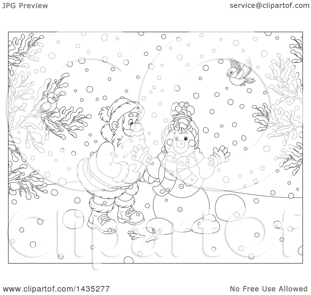 Clipart Of A Cartoon Black And White Lineart Christmas