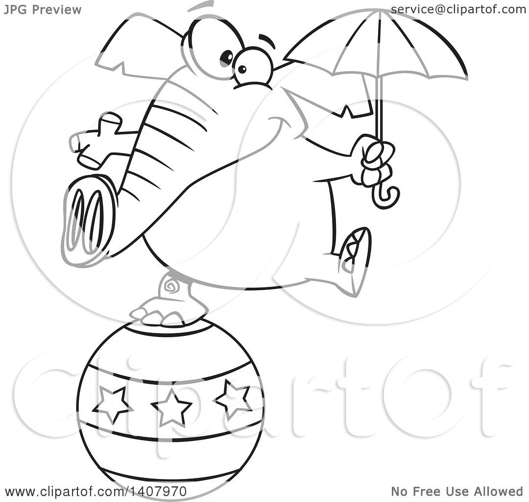 Clipart Of A Cartoon Black And White Lineart Circus Elephant Holding