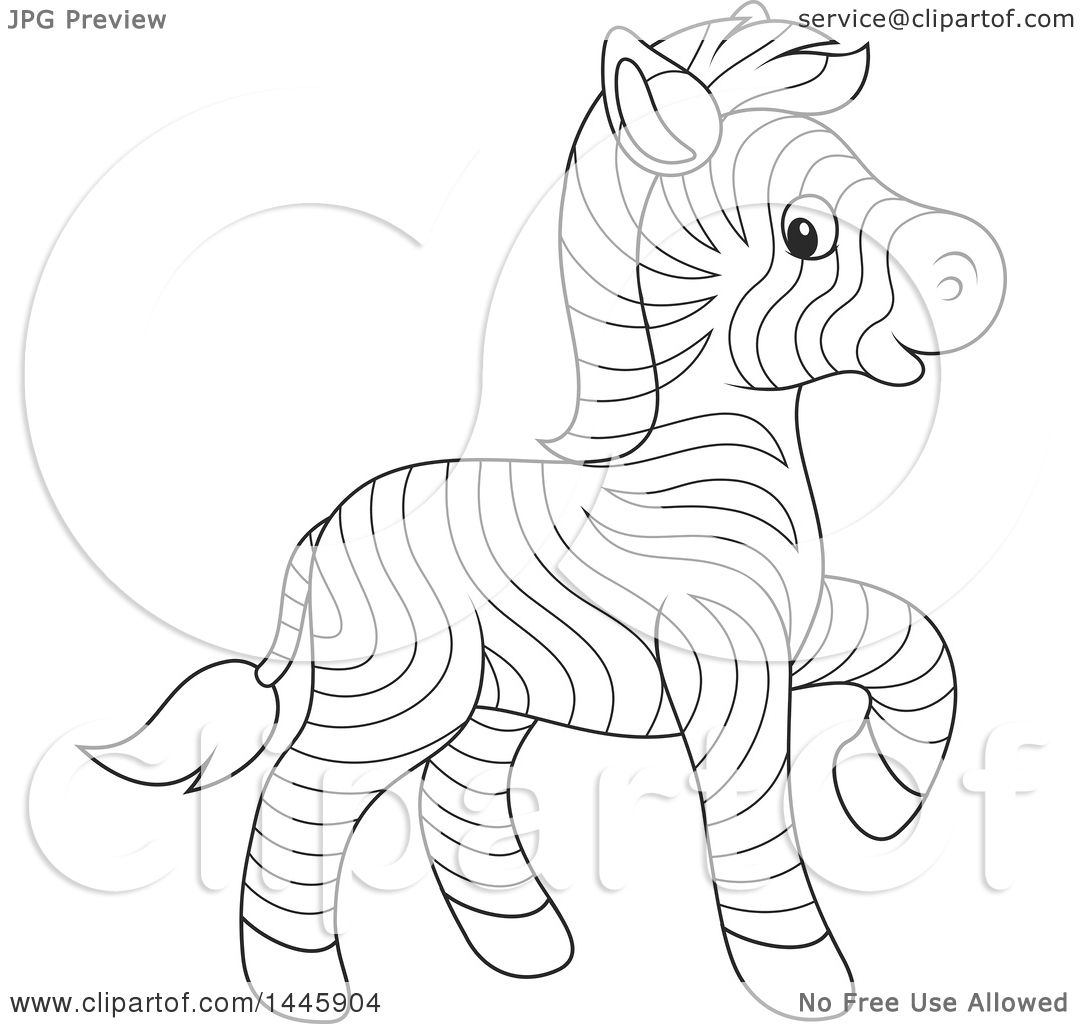 Clipart of a Cartoon Black and White Lineart Cute Baby ...