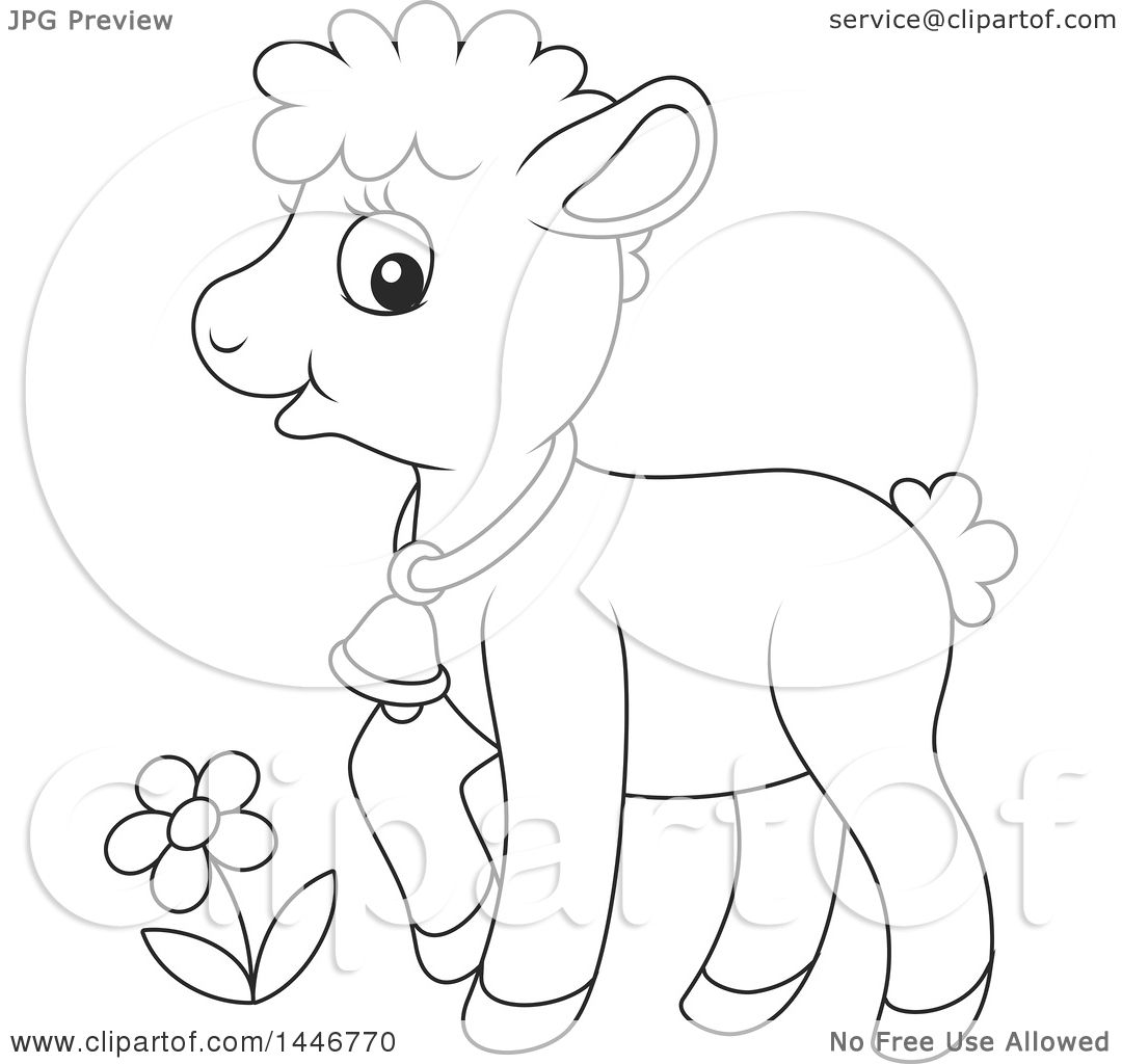 Clipart of a Cartoon Black and White Lineart Cute Sheared Baby ... for Baby Lamb Clipart  104xkb