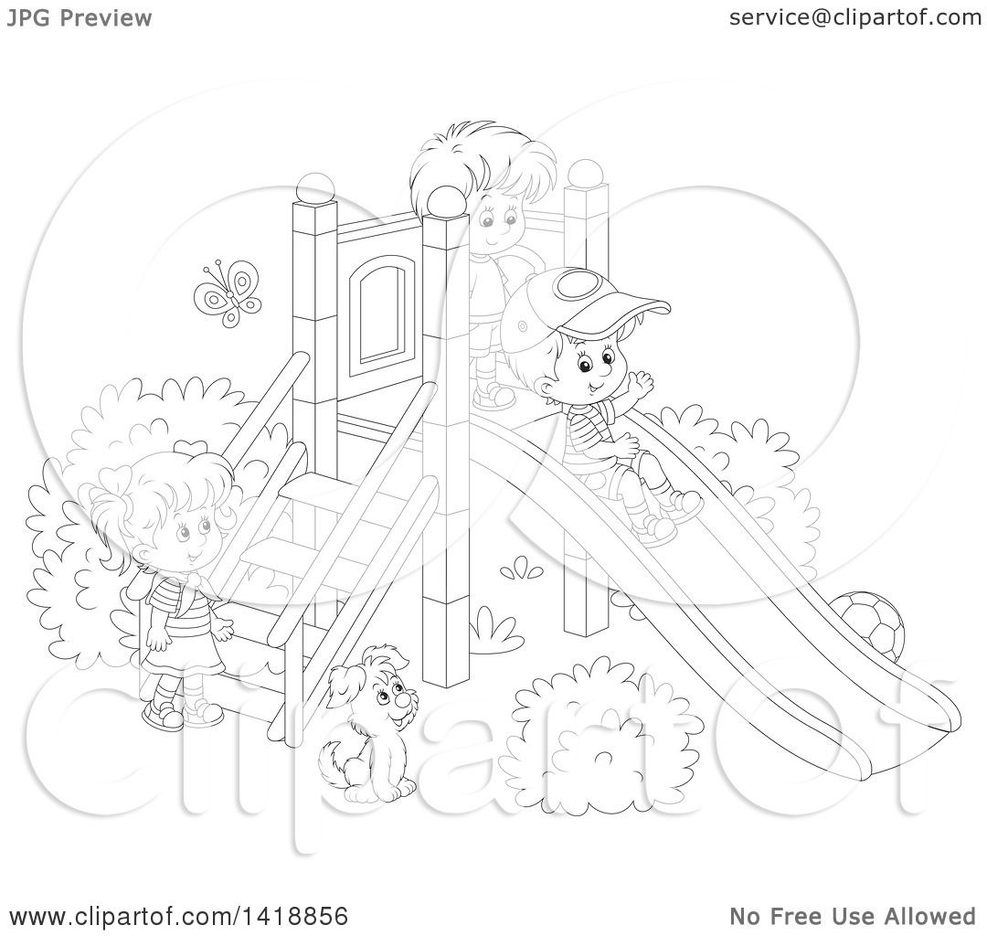 clipart of a cartoon black and white lineart dog watching children