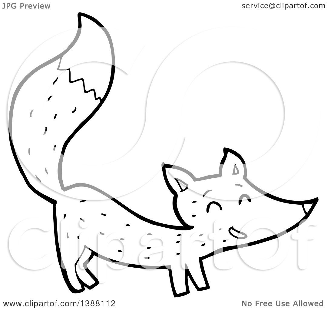 clipart of a cartoon black and white lineart fox royalty free