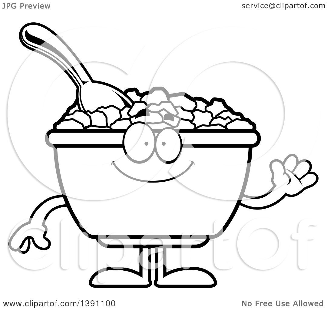 Clipart Of A Cartoon Black And White Lineart Friendly Waving Bowl Corn Flakes Breakfast Cereal Character