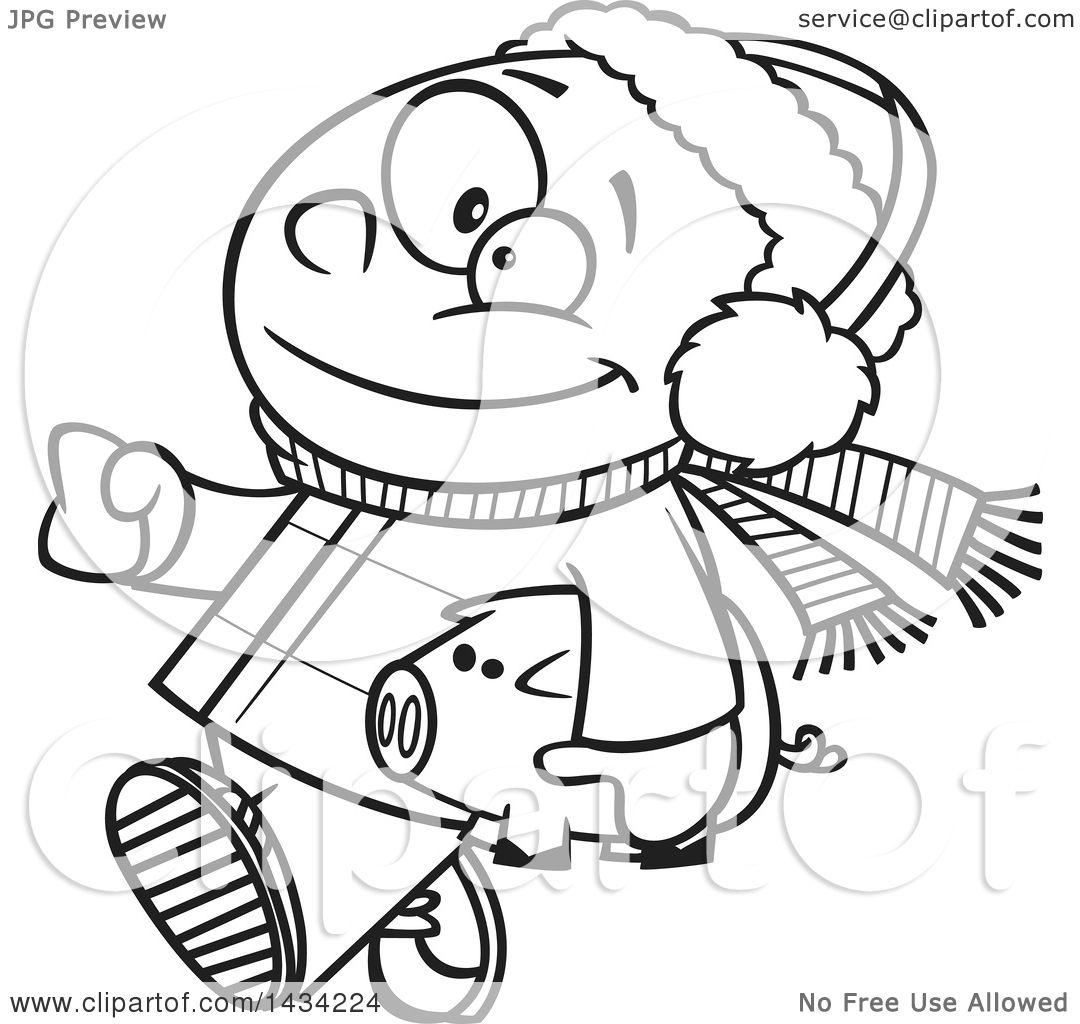 clipart of a cartoon black and white lineart happy african boy in