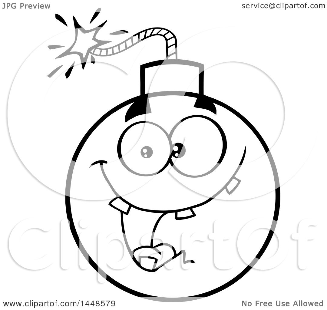 Clipart of a cartoon black and white lineart happy bomb mascot character with teeth royalty