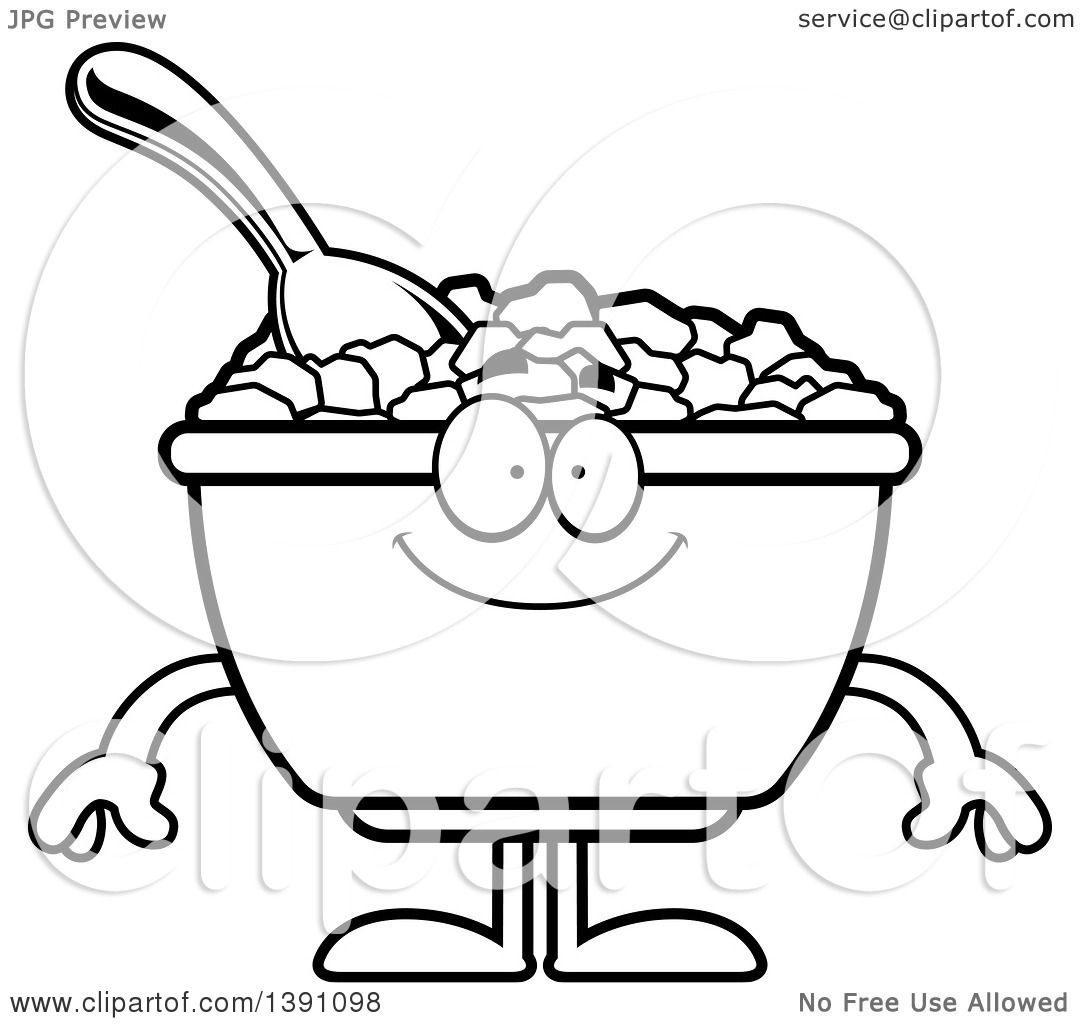 Clipart of a Cartoon Black and White Lineart Happy Bowl of Corn ...