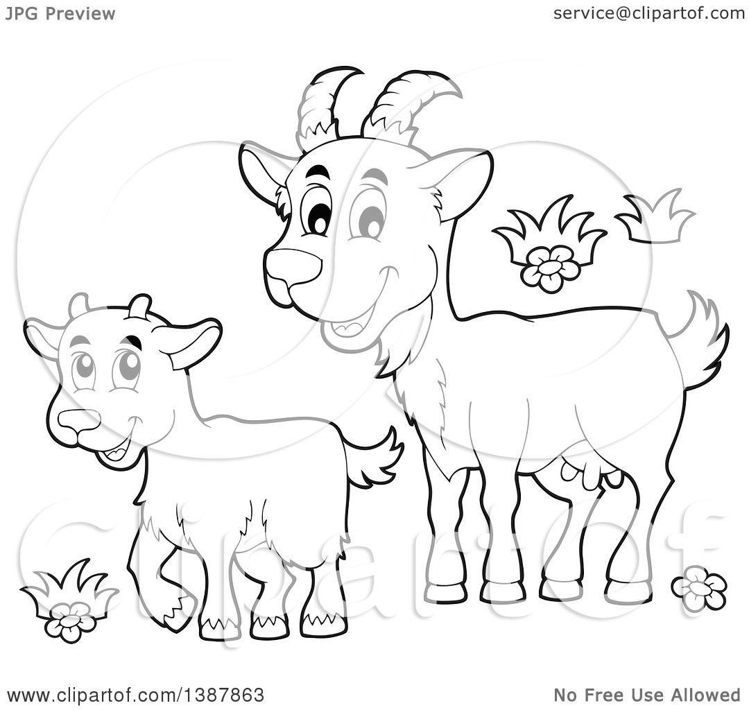 clipart of a cartoon black and white lineart happy goat