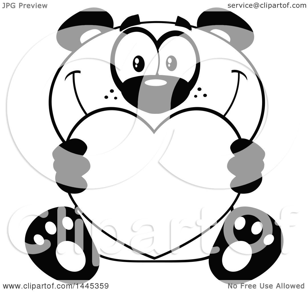 Clipart of a Cartoon Black and White Lineart Happy Panda ...