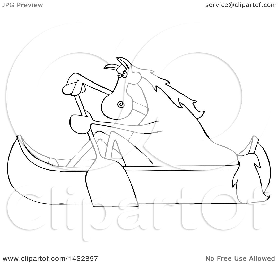 Clipart Of A Cartoon Black And White Lineart Horse Paddling Canoe