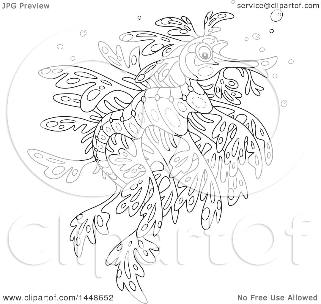 clipart of a cartoon black and white lineart leafy seadragon royalty free vector illustration by alex bannykh