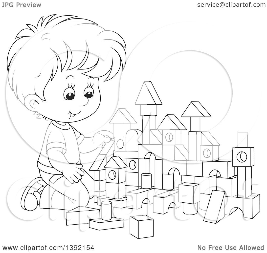 Little Boy Toys Clip Art : Clipart of a cartoon black and white lineart little boy