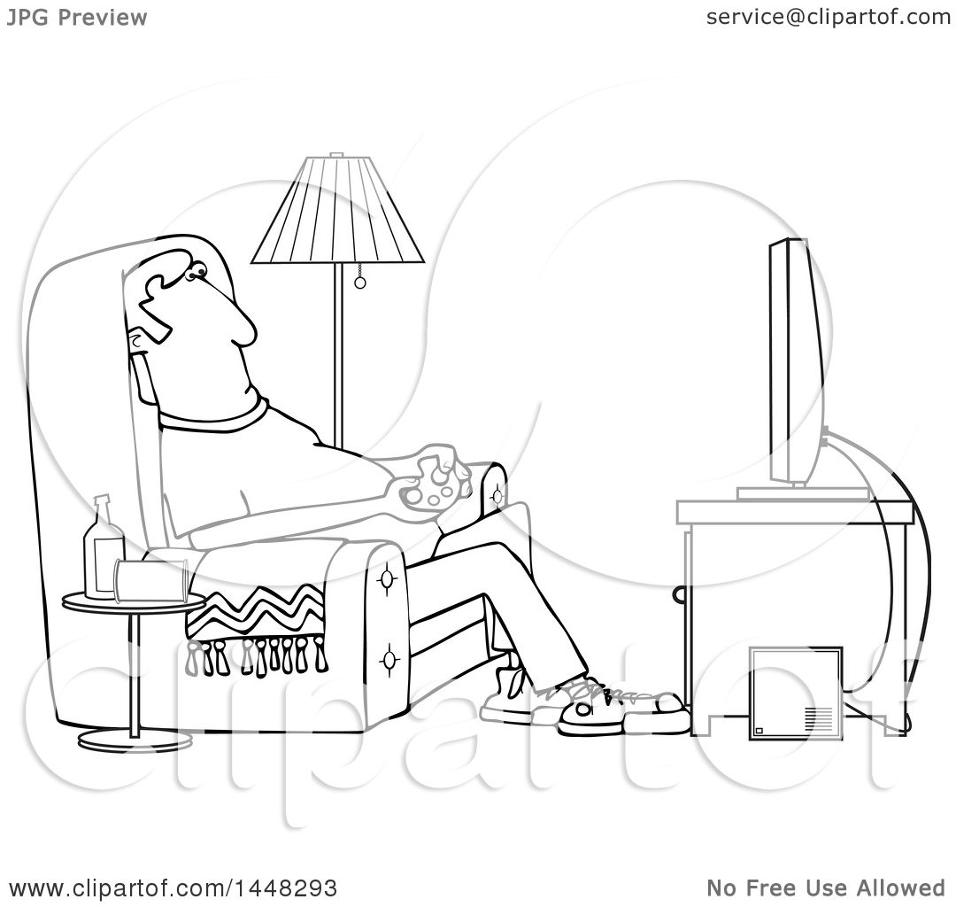 Living Room Coloring Clipart Of A Cartoon Black And White Lineart Man Paying Video