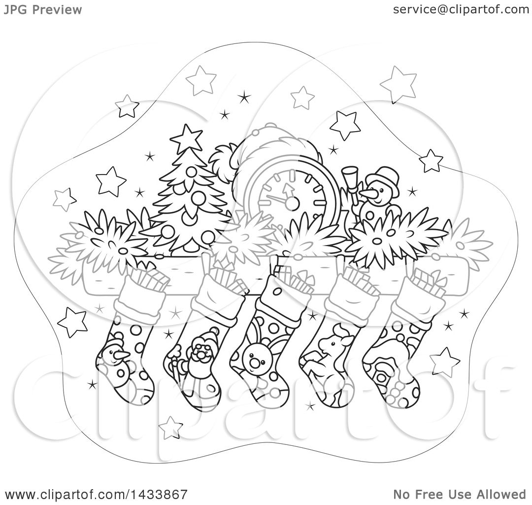 clipart of a cartoon black and white lineart mandle with a clock