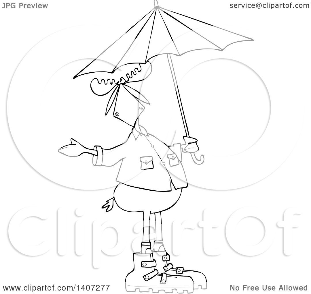 Clipart of a Cartoon Black and White Lineart Moose in Rain Gear ...