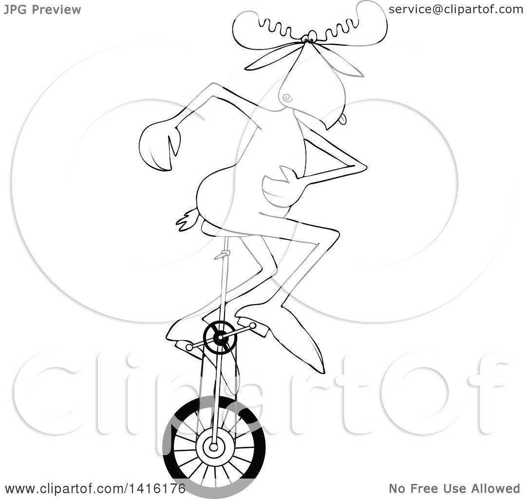Clipart of a Cartoon Black and White Lineart Moose Riding a Unicycle - Royalty Free ...