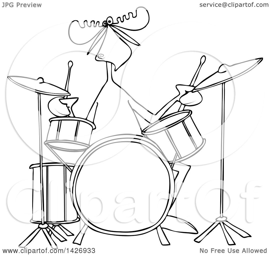 Coloring pictures drums - Clipart Of A Cartoon Black And White Lineart Musician Moose Playing The Drums Royalty Free Vector Illustration By Dennis Cox