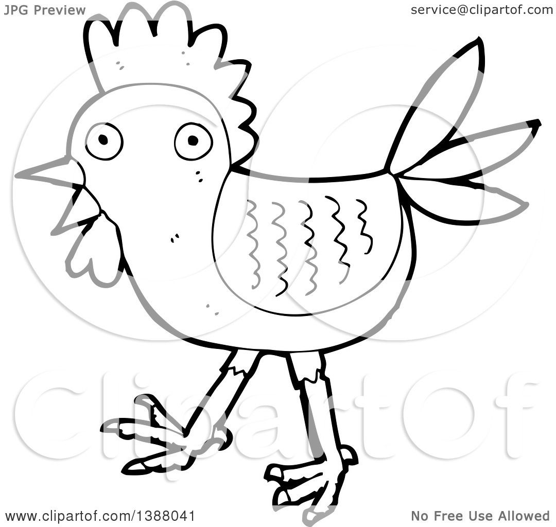 clipart of a cartoon black and white lineart roooster chicken