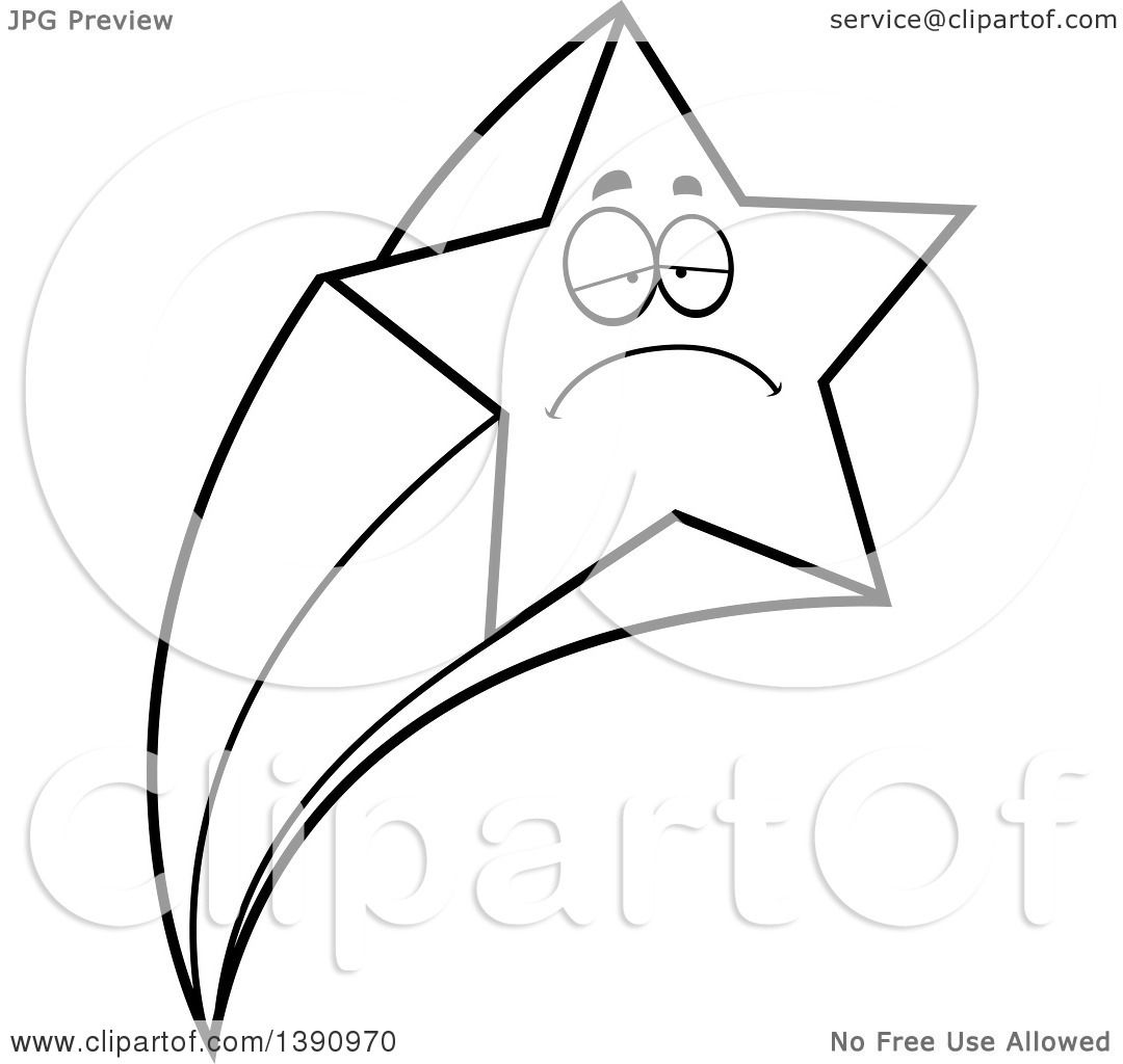 Clipart of a Cartoon Black and White Lineart Sad Shooting Star ... for Shooting Star Clip Art Black And White  51ane