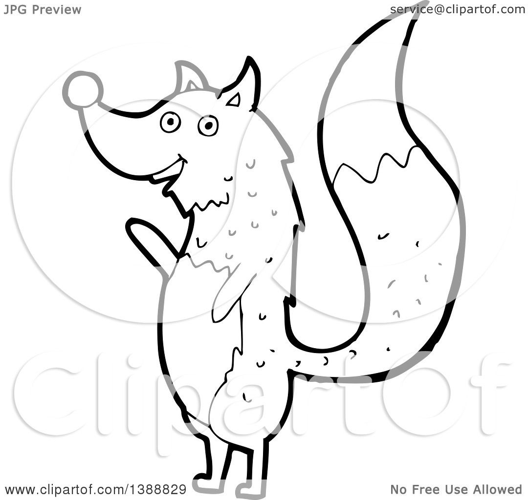 Clipart of a Cartoon Black and White Lineart Wolf ...