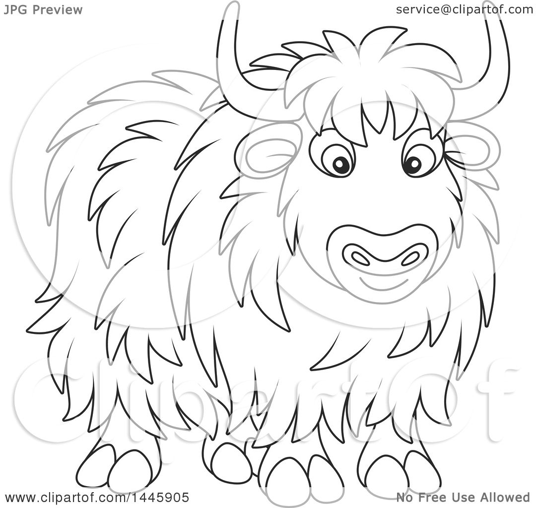 Free coloring pages yak - Clipart Of A Cartoon Black And White Lineart Yak Royalty Free Vector Illustration By Alex Bannykh