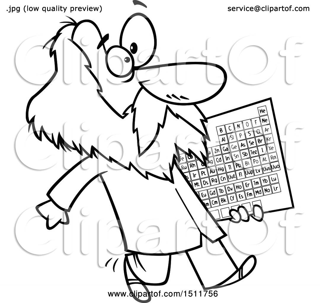 Clipart of a cartoon black and white man dmitri mendeleev carrying clipart of a cartoon black and white man dmitri mendeleev carrying the periodic table of elements royalty free vector illustration by toonaday urtaz Image collections