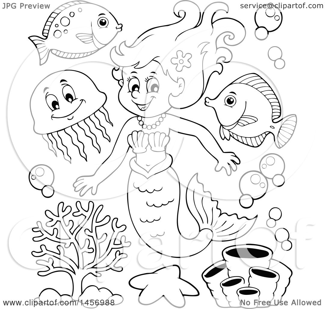 Clipart of a cartoon black and white mermaid and sea for Free clipart no copyright