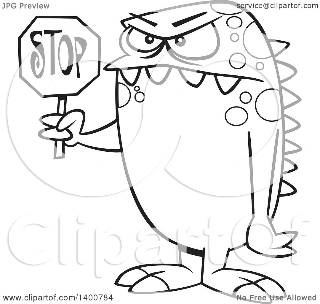 Clipart of a Cartoon Black and White Monster Holding a Stop Sign ... for Stop Sign Clipart Black And White  66pct